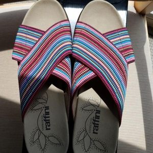 NWT**Multi Color Wedge Sandal
